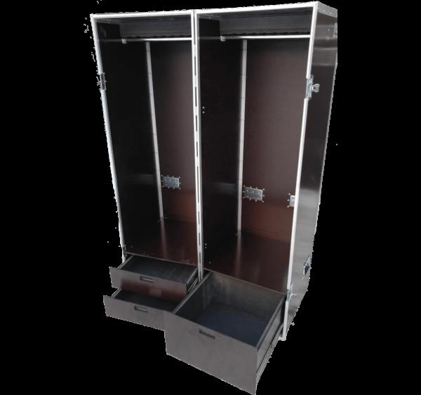 Двойной кофр для одежды с выдвижными ящиками под аксессуары